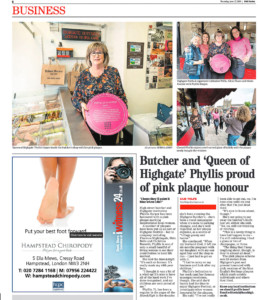 The Queen of Highgate, Phyllis Harper celebrating her pink plaque in an article from the Ham and High. Photograph by Siorna Ashby, a portrait photographer in north London, Finsbury Park for the Ham and High newspaper
