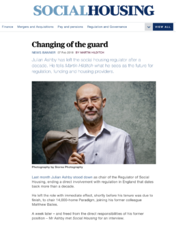 A magazine article from Social Housing with Julian Ashby, Chair of the Regulator of Social Housing in the UK. Photograph by Siorna Ashby, a portrait photographer in north London, Finsbury Park.