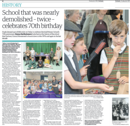Children dressed up in 1940's outfits celebrate Benthal Primary School 70th Birthday. Photograph by Siorna Ashby, a portrait photographer in north London, Finsbury Park for the Hackney Gazette