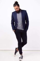 A mens London headshot photoshoot in a tripped T-shirt and blazer
